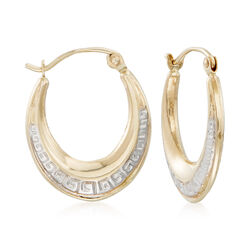 14kt Two-Tone Gold Greek Key Oval Hoop Earrings, , default
