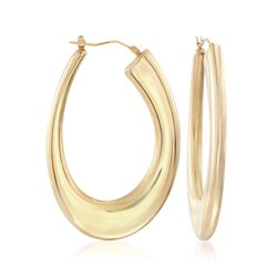 Italian Andiamo 14kt Yellow Gold Oval Hoop Earrings, , default