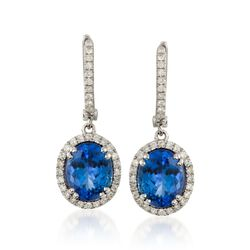 4.65 ct. t.w. Tanzanite and .50 ct. t.w. Diamond Drop Hoop Earrings in 14kt White Gold, , default