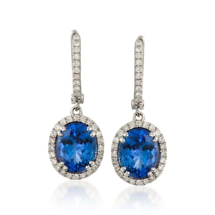 4.65 ct. t.w. Tanzanite and .50 ct. t.w. Diamond Drop Hoop Earrings in 14kt White Gold, , default