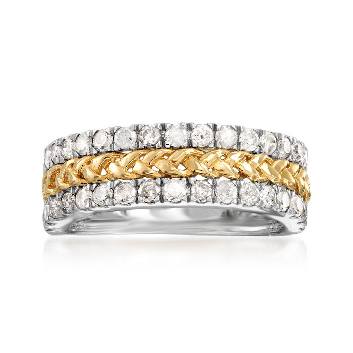 1.00 ct. t.w. Diamond Braided Ring in Sterling Silver and 14kt Yellow Gold