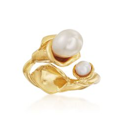 4-7.5mm Cultured Pearl Calla Lily Bypass Ring in 14kt Gold Over Sterling, , default