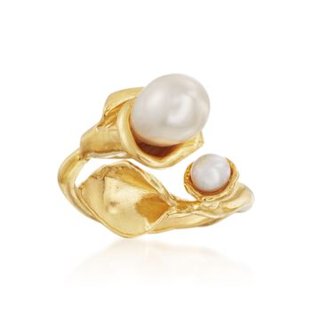 4-7.5mm Cultured Pearl Calla Lily Bypass Ring in 14kt Gold Over Sterling. Size 8, , default