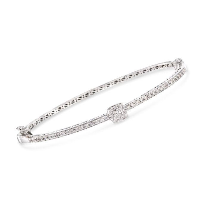 "ALOR .42 ct. t.w. Diamond Bangle Bracelet in 18kt White Gold. 7"", , default"