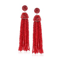 Coral Bead Tassel Drop Earrings in Sterling Silver, , default