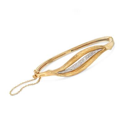 C. 1970 Vintage .25 ct. t.w. Diamond Bangle Bracelet in 14kt Yellow Gold, , default