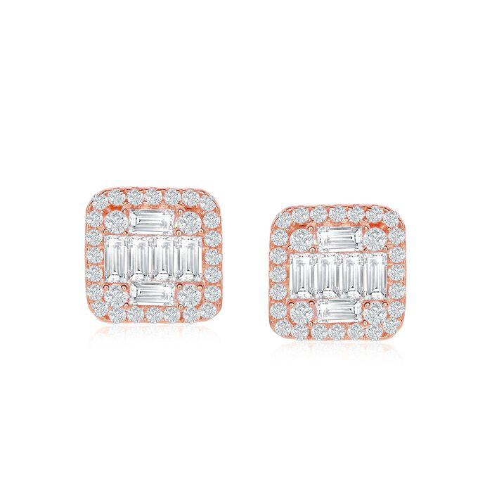 .85 ct. t.w. Baguette and Round CZ Square Stud Earrings in 18kt Rose Gold Over Sterling, , default
