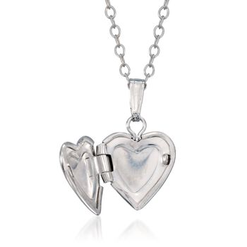 "Child's Diamond Accent Heart Locket Necklace in Sterling Silver 13"", , default"