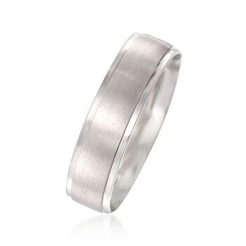 Men's 6mm 14kt White Gold Wedding Ring, , default