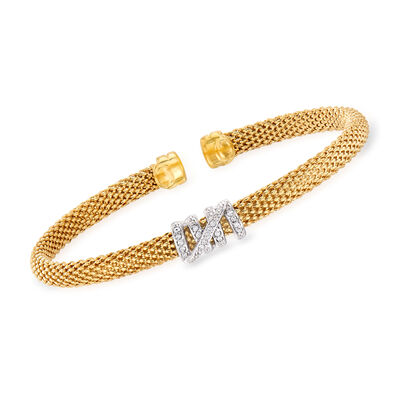 "Phillip Gavriel ""Popcorn"" .13 ct. t.w. Diamond Cuff Bracelet in 14kt Yellow Gold, , default"