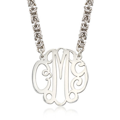 Sterling Silver Script Monogram Rolled Byzantine Necklace, , default