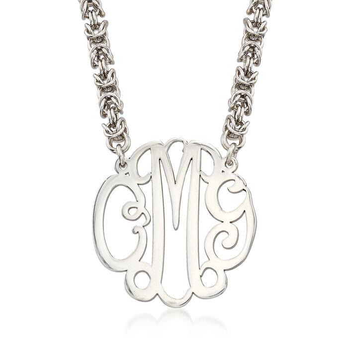 Sterling Silver Script Monogram Rolled Byzantine Necklace