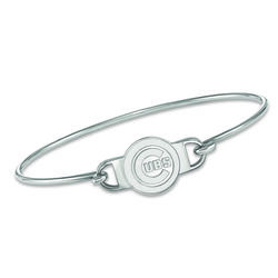 """Sterling Silver MLB Chicago Cubs Small Center Wire Bangle Bracelet. 7"""", , default"""