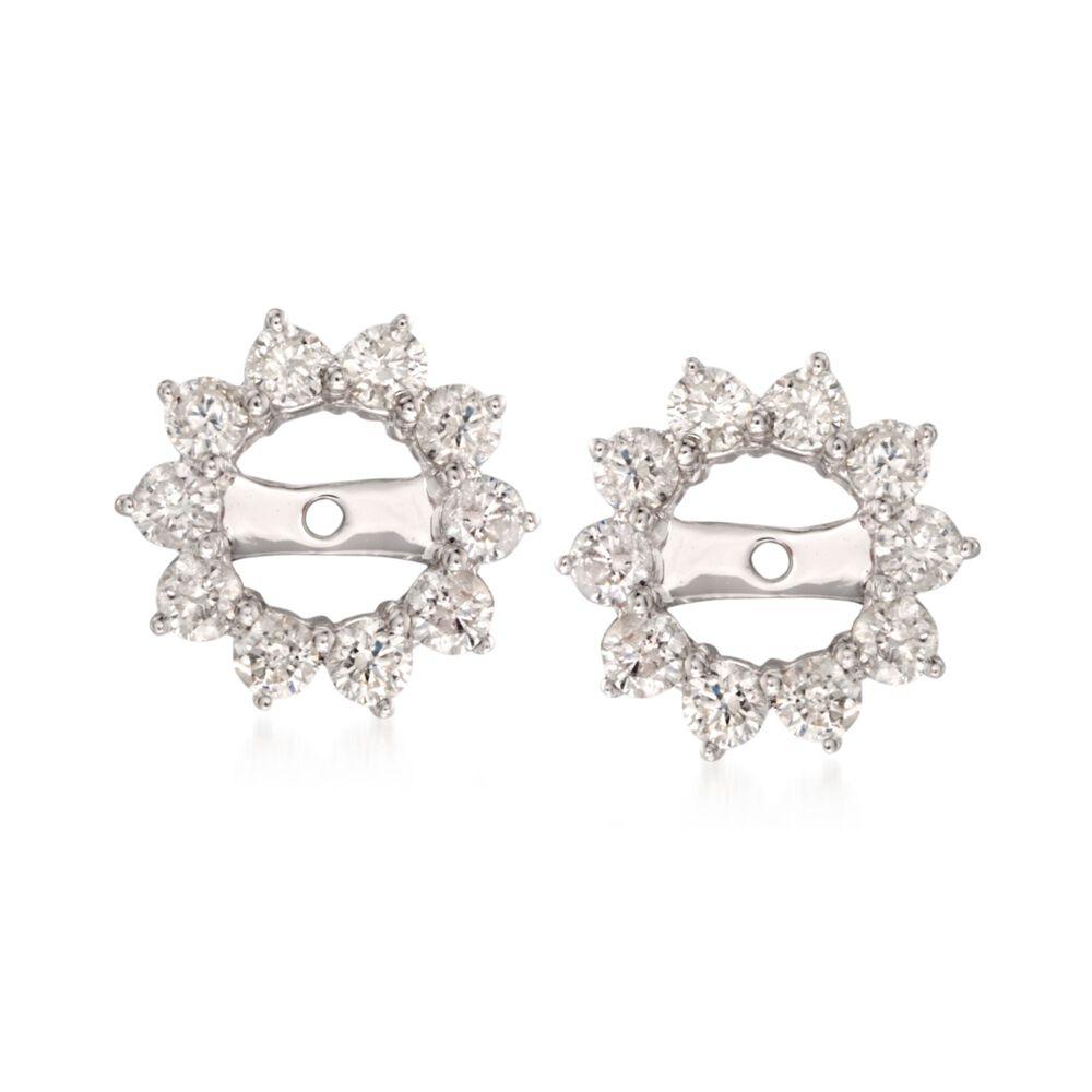 T W Diamond Earring Jackets In 14kt White Gold Jacket