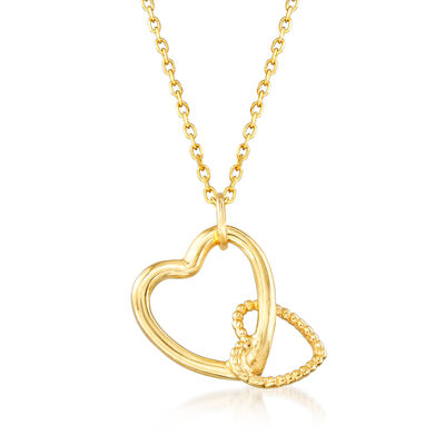 Italian 18kt Yellow Gold Double-Heart Necklace, , default