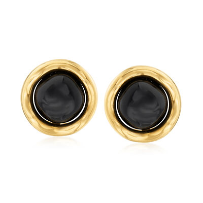 C. 1980 Vintage Tiffany Jewelry Black Onyx Earrings in 18kt Yellow Gold, , default