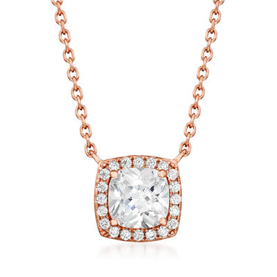 1.80 ct. t.w. CZ Square Pendant Necklace in 18kt Rose Gold Over Sterling, , default