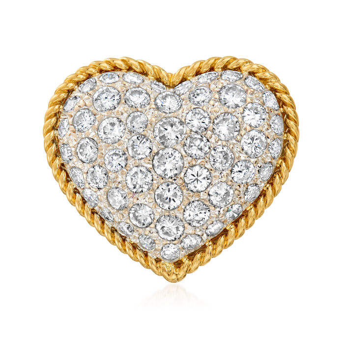 C. 1980 Vintage 2.43 ct. t.w. Diamond Heart Ring in 18kt Yellow Gold. Size 6