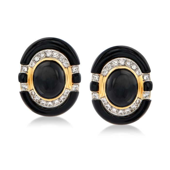 C. 1980 Vintage Black Onyx and .80 ct. t.w. Diamond Earrings in 14kt Yellow Gold