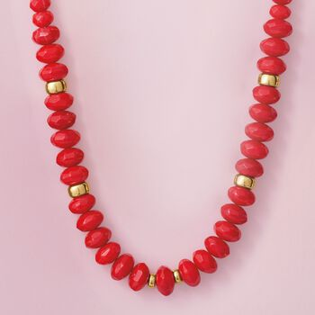 Graduated Red Coral Bead Necklace with 14kt Yellow Gold, , default