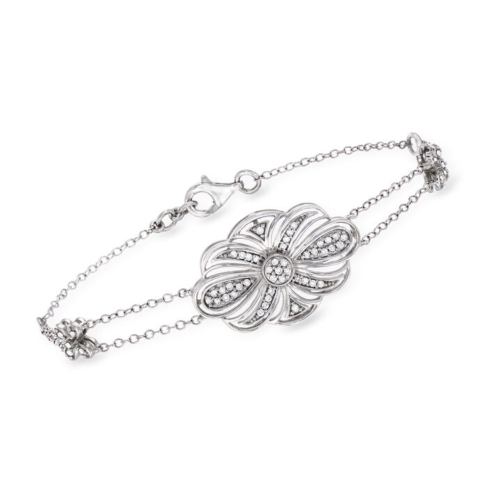 .26 ct. t.w. Diamond Flower Bracelet in Sterling Silver, , default