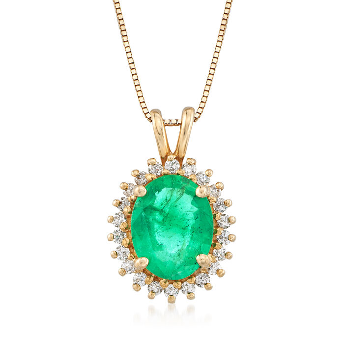 """1.70 Carat Emerald and .20 ct. t.w. Diamond Pendant Necklace in 14kt Yellow Gold. 16"""", , default"""