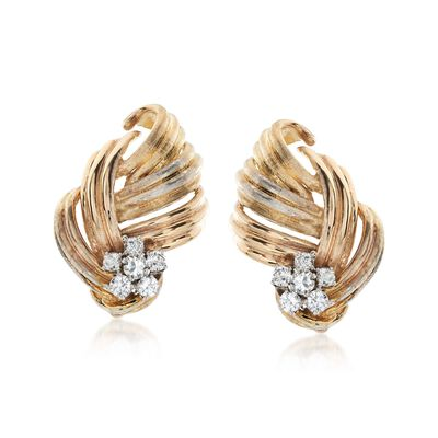C. 1980 Vintage 1.10 ct. t.w. Diamond Floral Clip-On Earrings in 14kt Yellow Gold, , default