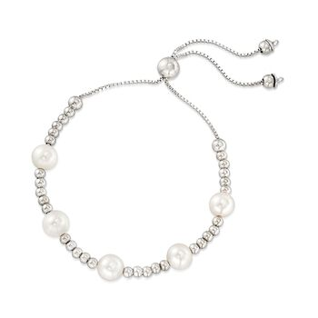 7-7.5mm Cultured Pearl Beaded Bolo Bracelet in Sterling Silver, , default