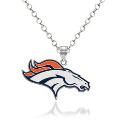 "Sterling Silver NFL Denver Broncos Enamel Pendant Necklace. 18"", , default"