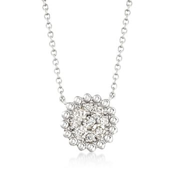 """.43 ct. t.w. Diamond Cluster Necklace in 14kt White Gold. 16"""", , default"""