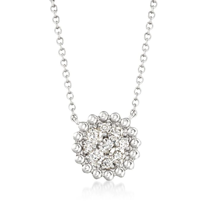 ".43 ct. t.w. Diamond Cluster Necklace in 14kt White Gold. 16"", , default"