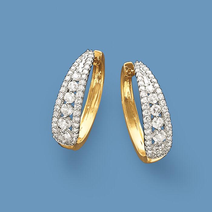 2.00 ct. t.w. Diamond Graduated Hoop Earrings in 14kt Yellow Gold