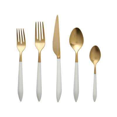 """Vietri """"Ares Oro"""" White 5-pc. 18/10 Stainless Steel Place Setting from Italy"""