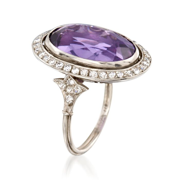 C. 1960 Vintage 11.90 Carat Amethyst and .70 ct. t.w. Diamond Ring in Platinum