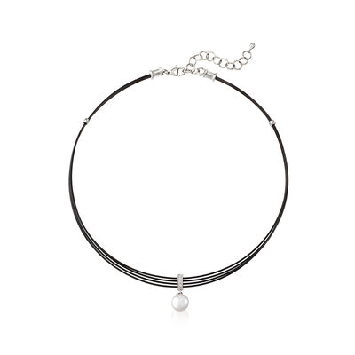 "ALOR Black ""Noir"" Cultured Pearl Stainless Steel Cable Pendant Necklace with 18kt White Gold, , default"