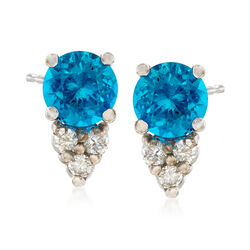 C. 1990 Vintage .70 ct. t.w. Apatite and .10 ct. t.w. Diamond Earrings in 14kt White Gold , , default