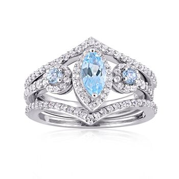 1.28 ct. t.w. Sky Blue and White Topaz Jewelry Set: Three Stackable Rings in Sterling Silver, , default