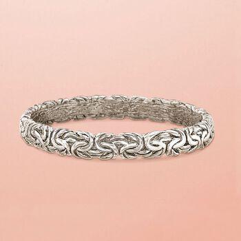 Italian Sterling Silver Flat Byzantine Bangle Bracelet, , default