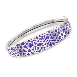 Italian Purple Enamel Floral Bangle Bracelet in Sterling Silver, , default