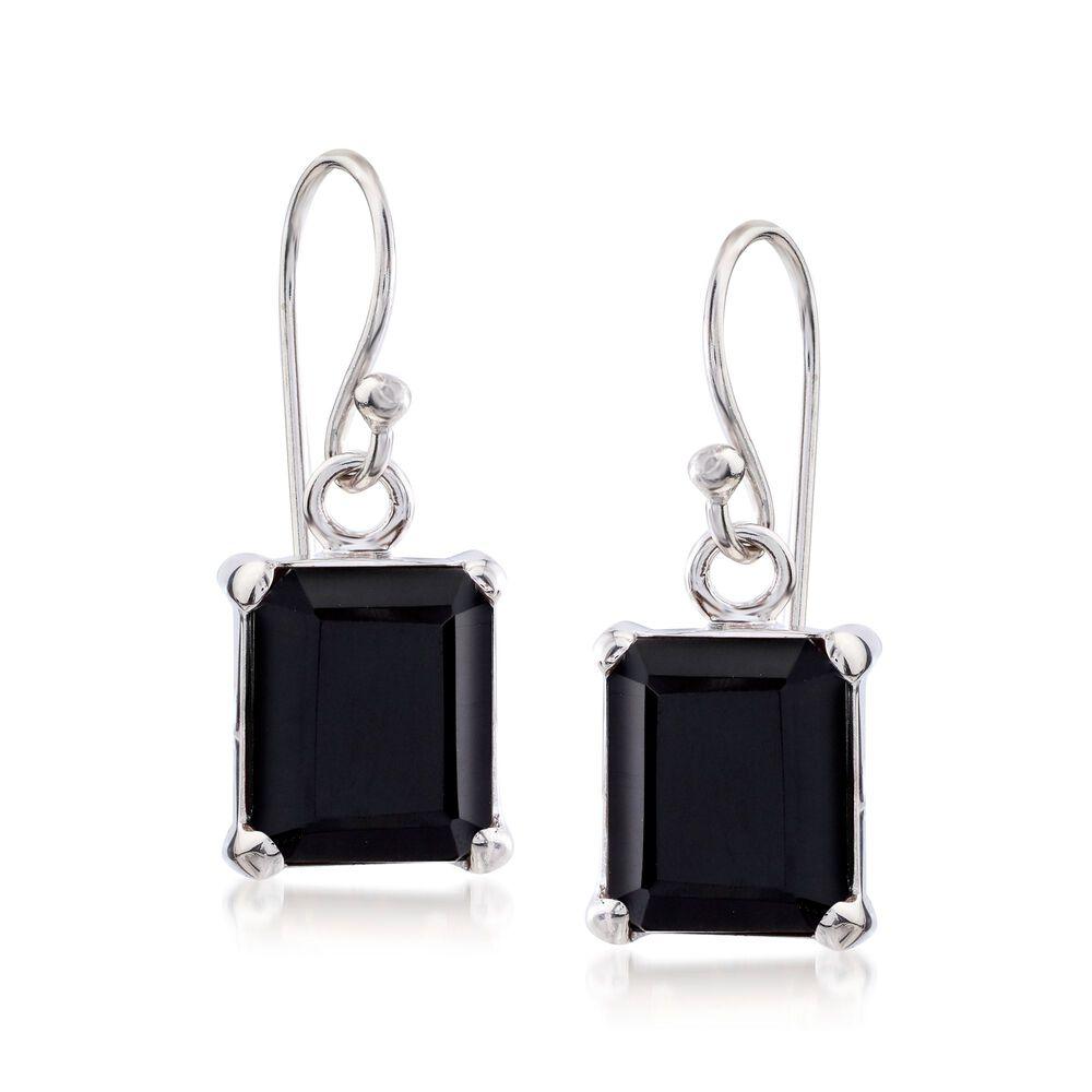 10x8mm Emerald Cut Black Onyx Drop Earrings In Sterling Silver Default