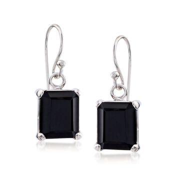 10x8mm Emerald-Cut Black Onyx Drop Earrings in Sterling Silver , , default