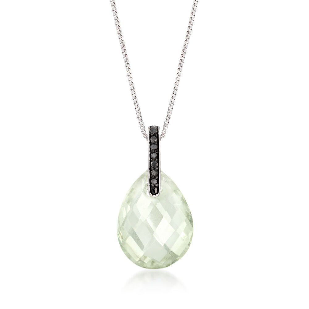 600 carat green amethyst pendant necklace with black diamond 600 carat green amethyst pendant necklace with black diamond accents in sterling silver 18quot aloadofball Images