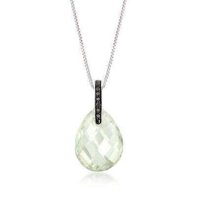 6.00 Carat Green Prasiolite  Pendant Necklace with Black Diamond Accents in Sterling Silver, , default