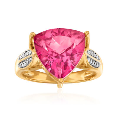 5.70 Carat Pink Topaz and .10 ct. t.w. White Topaz Ring in 18kt Gold Over Sterling