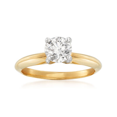 .72 Carat Certified Diamond Solitaire Engagement Ring in 14kt Yellow Gold