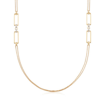 "Roberto Coin ""Parisienne"" .55 ct. t.w. Diamond Double Chain Necklace in 18kt Yellow Gold, , default"