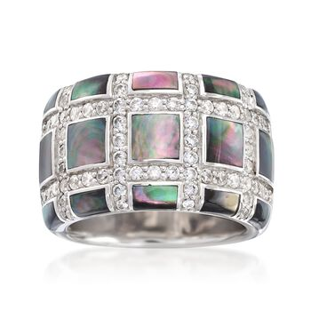 """Belle Etoile """"Regal"""" Black Mother-Of Pearl and . 75 ct. t.w. CZ Ring in Sterling Silver. Size 7, , default"""