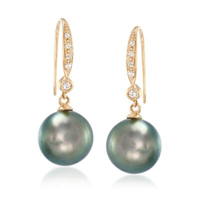 9-10mm Black Cultured Tahitian Pearl and .10 ct. t.w. Diamond Drop Earrings in 14kt Yellow Gold, , default