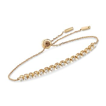 .51 ct. t.w. Diamond Bolo Bracelet in 14kt Yellow Gold, , default