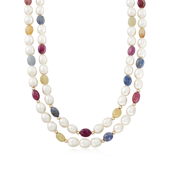 Cultured Pearl, Ruby and Multicolored Sapphire Double Strand Necklace